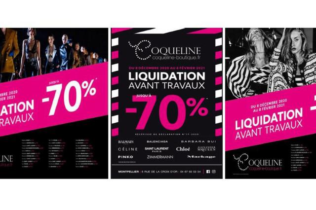 Boutique Coqueline Montpellier annonce une liquidation avant travaux d'embellissement.