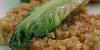 Le Clos des Oliviers Saint Gély du Fesc Restaurant gastronomique présente le Filet de Rouget grondin, risotto d'épeautre (® Le Clos des Oliviers)